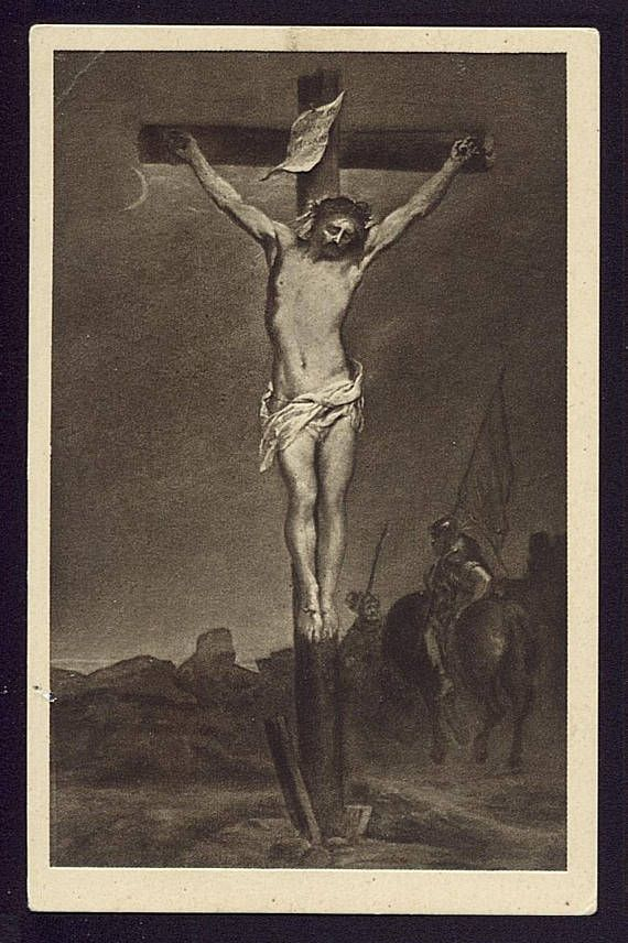 Christ on The Cross A. van Dyck Vintage Religious Postcard