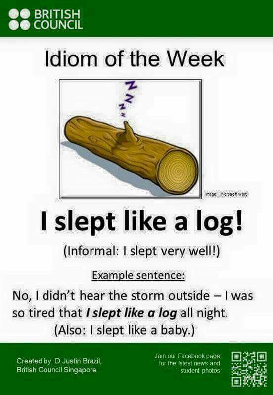 I sleept like a log