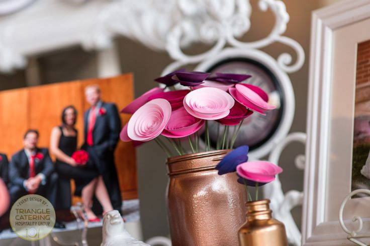 Eco-friendly paper flowers from Flowerthyme at Belt Line Station in Durham, NC #TriangleWeddings  (photo courtesy of Silver Feather Studios)