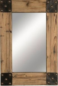 Cabin Western Lodge Style Wood Wall Mirror With Studded Metal Corners Ideas For The House