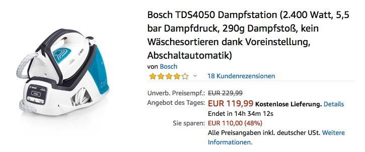 Bosch Tds4050 Dampfstation Mit 5 5 Bar Dampfdruck Bosch Kuche Und Haushalt Und Bar