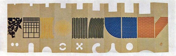 """Domus 458 / febbraio 1968. """"Il posto dei giochi"""", disegnato da Enzo Mari per Danese nel 1967"""