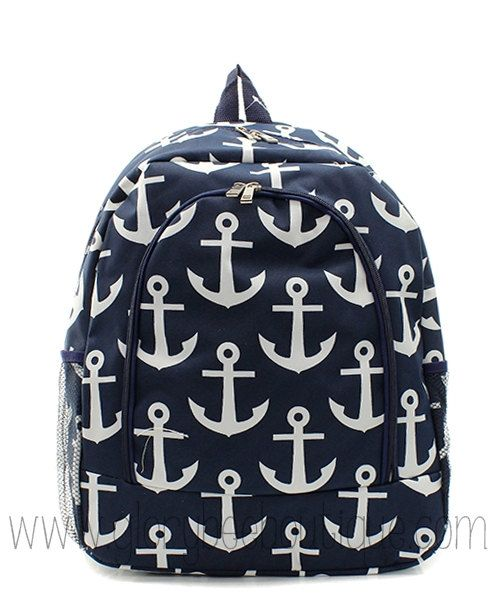 Anchor Backpack, Monogrammed Anchor Backpack, Monogram Back to School on Etsy, $34.95