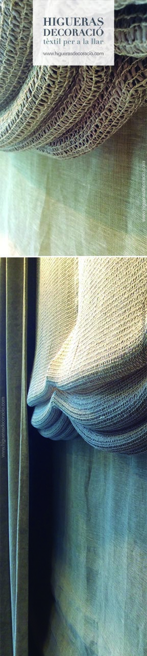 #Doble cortina. #Estor de paqueto sin varillas confeccionado con una tejido casual. #Cortina lisa con gran caída. #Doble Cortina. #Estor paqueto sense varetes confeccionat amb un teixit casual. #Cortina llisa amb gran caiguda. www.higuerasdecoracio.com
