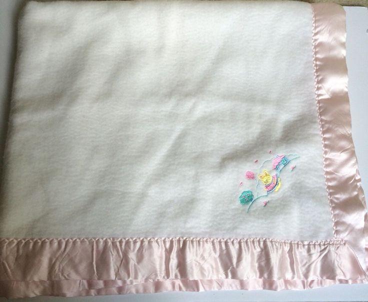 Vintage Quiltex Baby Blanket White Pink Satin Binding