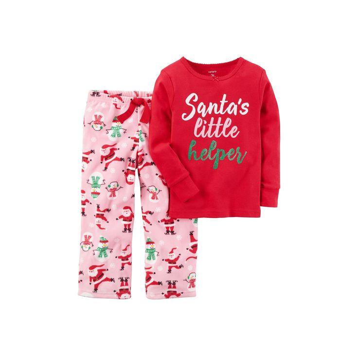 "Toddler Girl Carter's ""Santa's Little Helper"" Top & Microfleece Bottoms Pajama Set, Size: 4T, Red Santa"