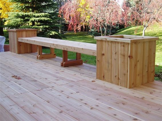 Deck Table Ideas deck bench with table and planter Find This Pin And More On Deck Ideas