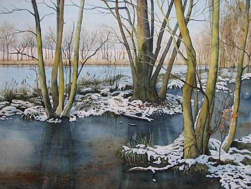 """Kerstin Birk, """"Winter am Pumpenteich (Schmannewitz)"""" Mit einem Klick auf 'Als Kunstkarte versenden' versenden Sie kostenlos dieses Werk Ihren Freunden und Bekannten."""