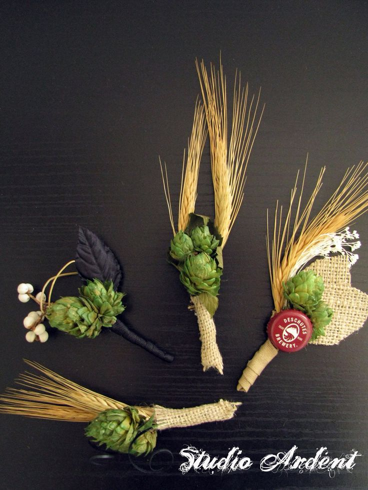 Beer Hops Choose Your Design Boutonnieres by StudioArdent on Etsy, $18.00