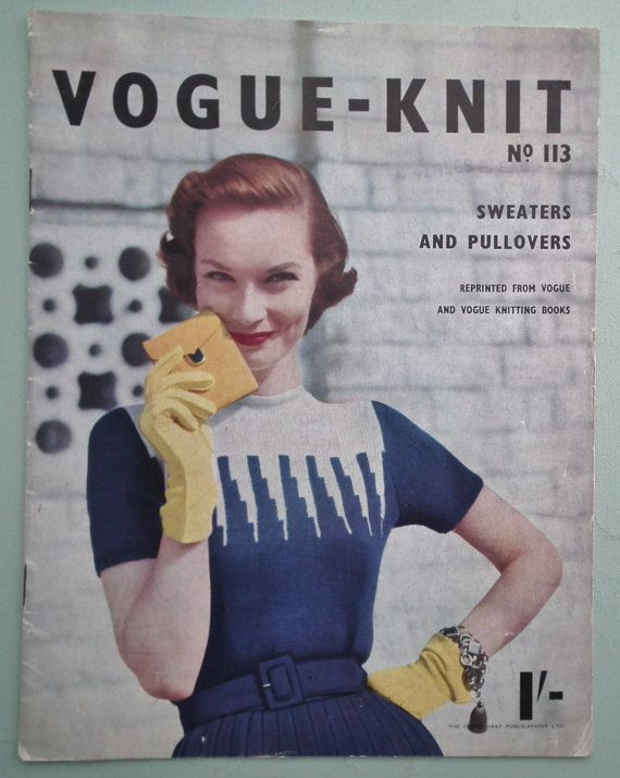 Vogue-Knit No. 113 Sweaters and Pullovers vintage Vogue knitting book 1950s original patterns 40s 50s fashions