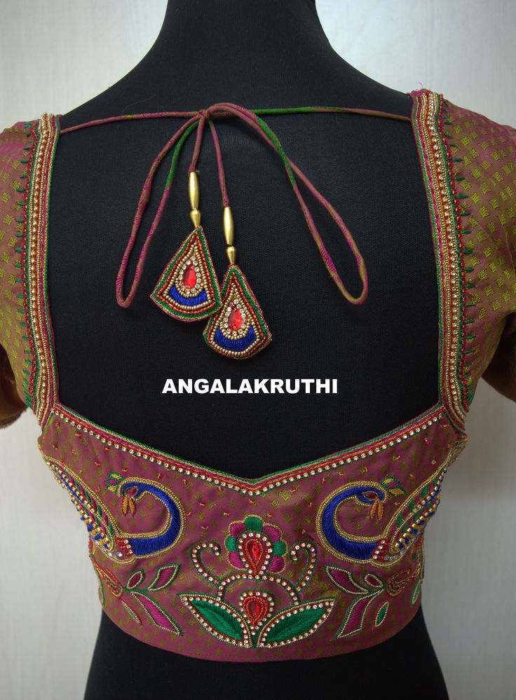 Ladies and kids boutique in Bangalore Neck designs, Hand Embroidery designs, Hand Embroidery in Bangalore, Parrot designs Hand Embroidery, zardosi work blouses, Blouse Hand Embroidery designs, Designer blouse designs, pattu blouse zardosi work designs, pattu blouse designs for back, blouse designs hand work, work blouse designs for pattu sarees, work blouse designs catalog, latest blouse back designs, maggam work blouse back design, latest embroidery,work blouses,