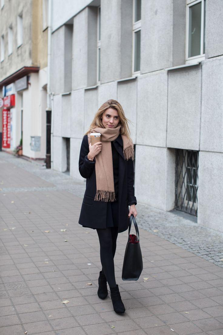 coat & scarf / płaszcz i szalik – COS   watch / zegarek – Michael Kors (symbol model MK2575)  sweater / sweter z golfem – MLE Collection  skirt & shoes / spódnica i buty – Zara   bag / torba – Armani