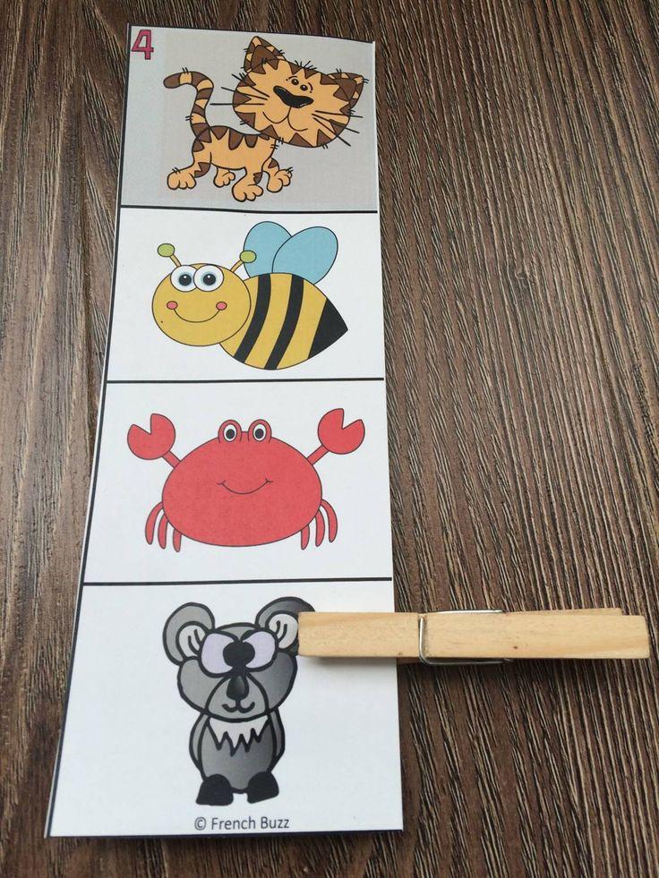 Les rimes - les élèves doivent trouver l'image qui rime avec la première case de la carte (elle est grise).