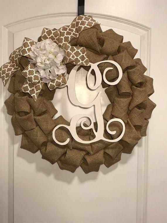 Hydrangea Monogram Wreath – White Hydrangea Wreath – Initial G Wreath – Everyday Wreath – Front Door
