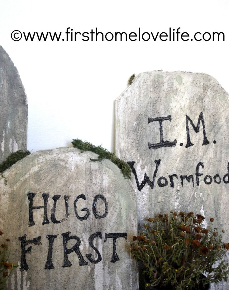 DIY Halloween Tombstones. But different words.