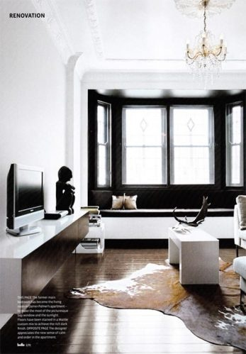 windows and doors in high gloss black... love this & black molding, with white walls and lots of art work would be stunning.