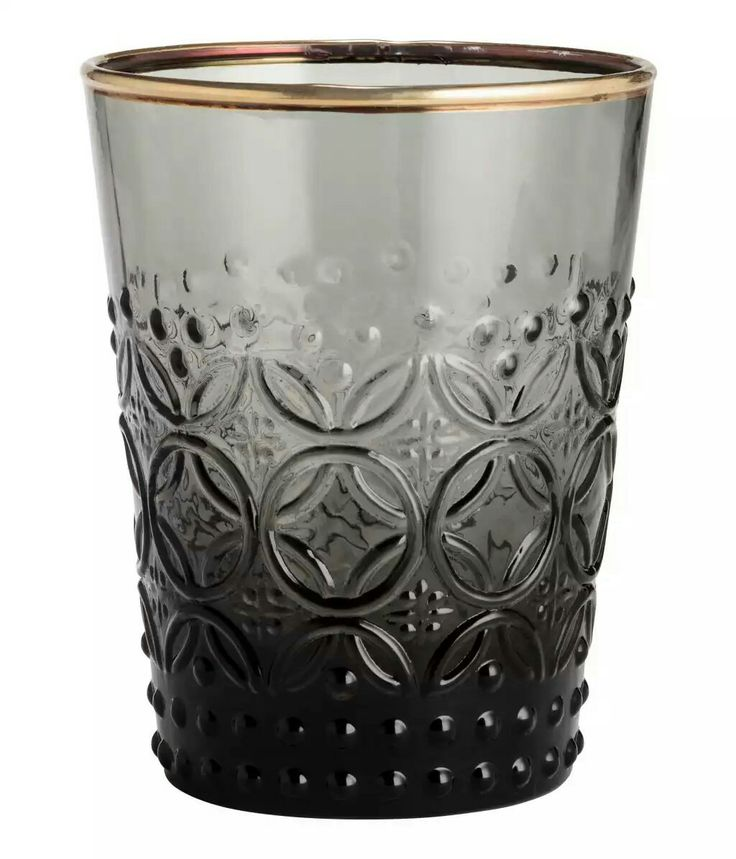 H&M - Smoky grey drinking glass with gold rim