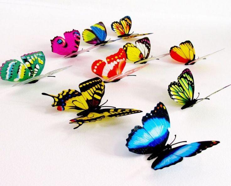 Muurstickers Slaapkamer 3d : Muursticker kleurrijke 3d-vlinders ...