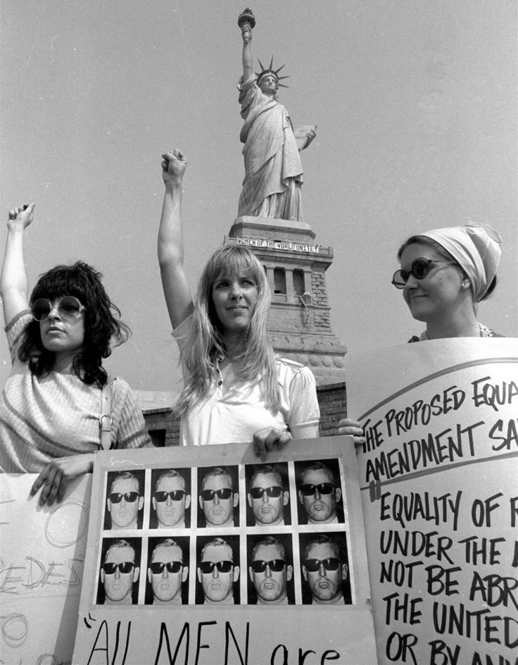 Women demonstrate on Liberty Island in support of the proposed Equal Rights Amendment on Aug. 10, 1970. The demonstration was to show support for the proposed equal rights amendment. This Is What 100 Years Of Women's Protest Looks Like In The US