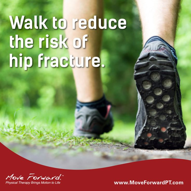 """Caminhe para reduzir o risco de fratura do quadril.  Hip fractures in older adults can be severely debilitating and can lead to significant medical expenses, but a study published in the American Journal of Public Health (""""Physical Activity and Inactivity and Risk of Hip Fractures in Men"""" – April 2014) suggests that 4 hours of walking each week can significantly reduce hip fracture risk later in life."""