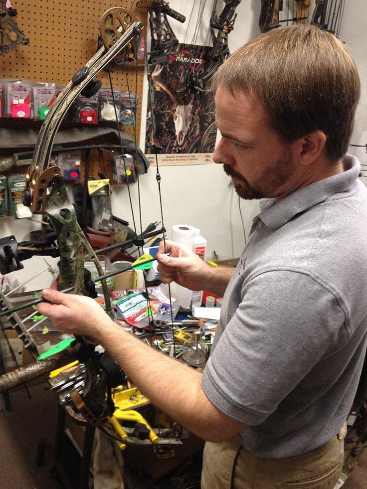 Nick Wolfe Working on a Bow, Neshoba Archery, Tumbling Shoals, Arkansas