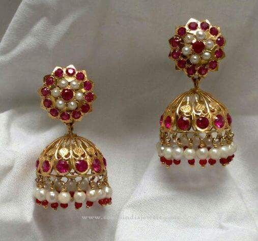 Gold Red Stone Jhumka, Red Stone Jhumka Designs, Gold Jhumka with Red Stones.