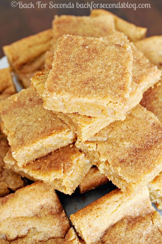 The BEST Soft and Chewy Snickerdoodle Bars! These are just perfect! http://backforsecondsblog.com