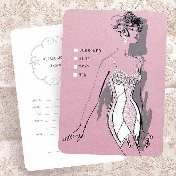 Lingerie Bridal Shower Invitation - 60s Vintage Fashion Illustration