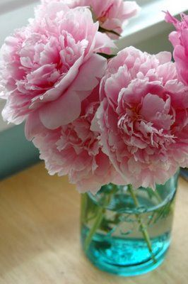 my favorite flower made better by a vintage blue mason jar.: Color, Wedding Ideas, Mason Jars, Flowers, Garden, Pink Peonies, Favorite Flower