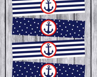 Nautical Water Bottle Labels Printable Nautical Baby Shower