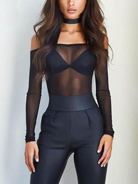 Black Sheer Mesh Off Shoulder Long Sleeve T-shirt | Irisie
