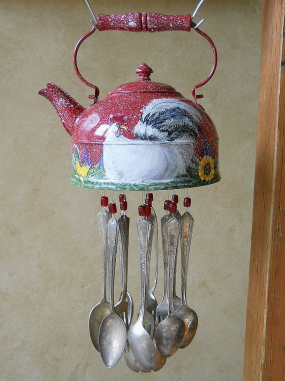Red Rooster  Old Tea Kettle Upcycled into a by wearetheedge