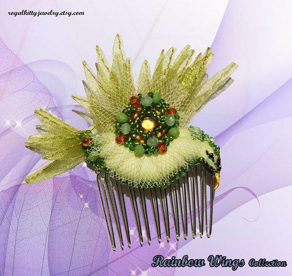 Green bird comb bird comb bird hair accessory by RoyalKittyJewelry