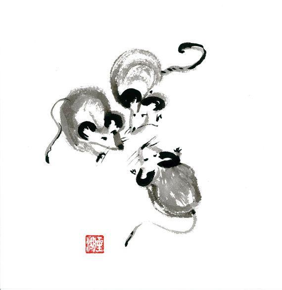 Chinese Zodiac Year of the Rat Zen Sumi Ink Brush by ZenBrush .take 10%with code PIN10ZEN  @ www.zenbrush.etsy.com