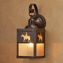 Cowboy Rider Outdoor Hanging Wall Lamp