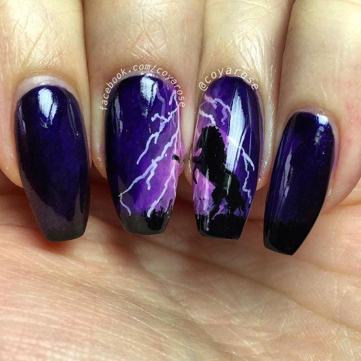 Lightning horse nail art. Nails