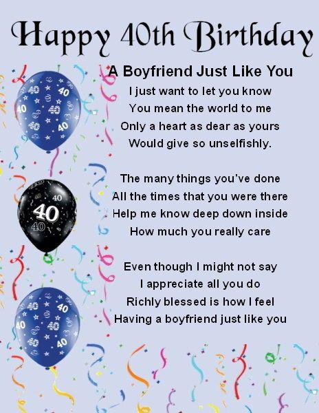 Fridge Magnet - Personalised - Boyfriend Poem - 40th Birthday  + FREE GIFT BOX