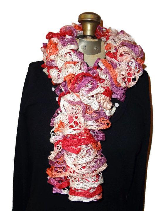 Ruffle Scarf  Pink & Red Handmade Knitted by chrysalisjewelrytx, $20.00