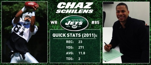 One of our new Jets, wide receiver Chaz Schilens. We're excited to have Chaz in Green & White for the 2012 season.