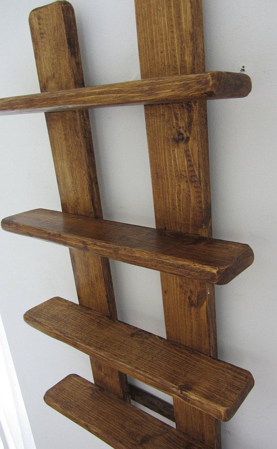 75cm Tall Shabby Chic Rustic Reclaimed Wood 4 Tier Floating Shelf