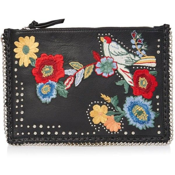Topshop Leather Embroidered Cross Body Bag ($49) ❤ liked on Polyvore featuring bags, handbags, shoulder bags, black, leather crossbody, leather cross body handbags, floral purse, genuine leather handbags and leather crossbody purse