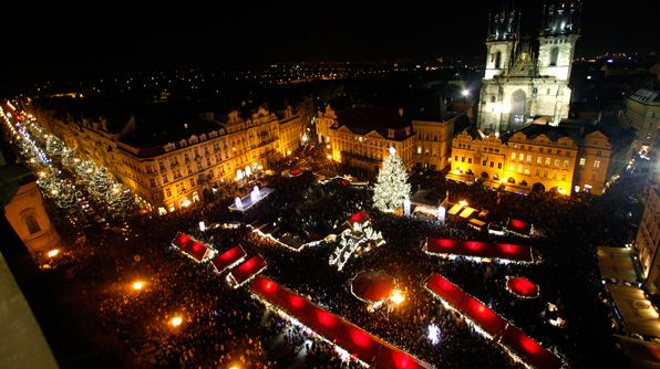 Prague's Old Town Square is home to the city's annual Christmas market