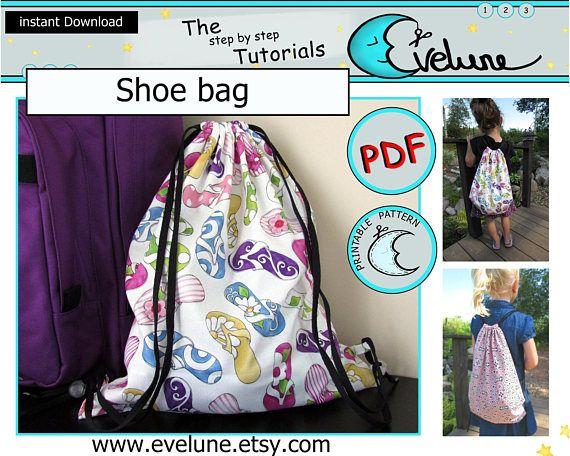 Shoe bag pattern / PDF / English pattern / kids bag / holdall