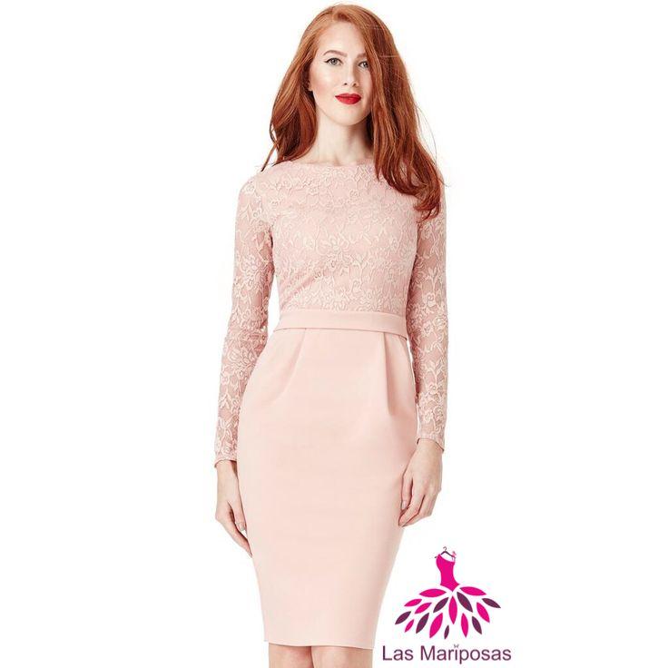 Alba Midi ροζ πούδρας δαντελένιο φόρεμα