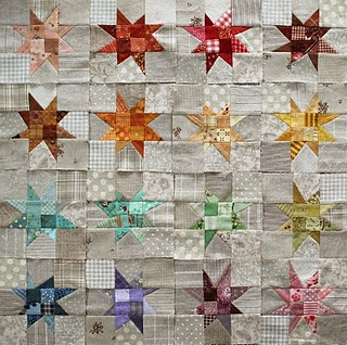 linen wonky stars. love the ivory background with the bright stars!