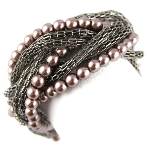 Braided Chainmail & Faux Pearl - Adjustable Bracelet - Metallic Gray & Violet Musk Evolatree. $15.99. 10. 1.25. 7