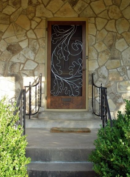 Metal oak leaves: Oak Leaves, Doors Design, Susan Wallace, Front Doors, Exterior Doors, Fun Ideas, Traditional Porches, Screens Doors, Doors Art