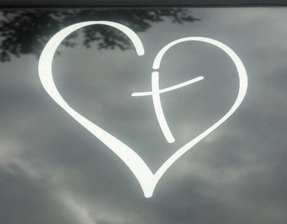Vinyl Car Decal Heart with Cross in Center Christian by PonderTruth, $10.00