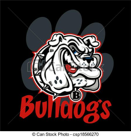 Vector - smirking bulldog mascot - stock illustration, royalty free illustrations, stock clip art icon, stock clipart icons, logo, line art, EPS picture, pictures, graphic, graphics, drawing, drawings, vector image, artwork, EPS vector art
