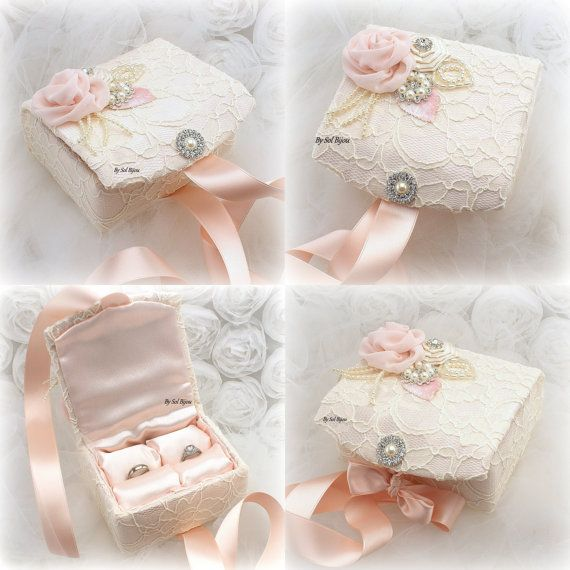 ***Ready to Ship  ***The listing is for a ring bearer box.  This ring box is unique, decadent and very versatile. It has been fully covered in ivory